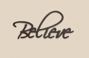 Believe Carved Word Script Home Decor