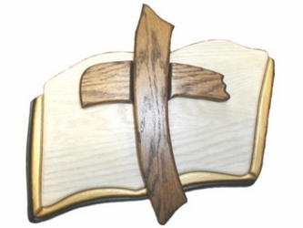 Bible And Cross Wood Carving Wall Decor
