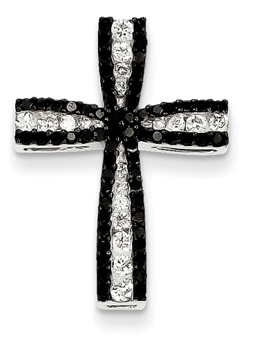 Black and white diamond cross pendant at lordsart black and white diamond cross pendant 14k white gold aloadofball Image collections