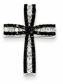 Black and White Diamond Cross Pendant, 14K White Gold