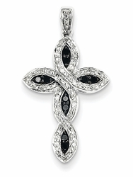 Black and White Diamond Cross Twist Necklace