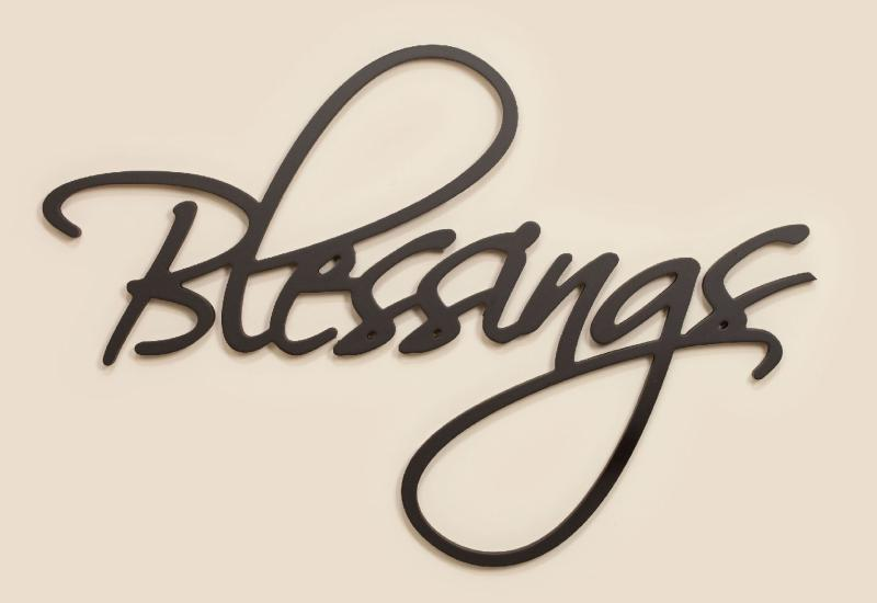 Blessings Carved Script Word Home Decor