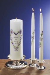 "Blue Bouquet 3x9"" Unity Candle and 12"" Tapers"