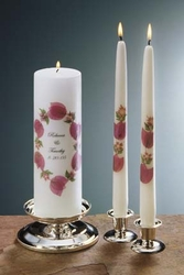 """Bougainvillea 3x9 Unity Candle and 12"""" Tapers"""