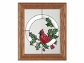 Cardinal and Holly Christmas Stained Glass Art