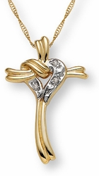 Cascading Heart & Cross Diamond Pendant in 14K Gold