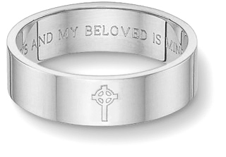 Celtic Cross Bible Verse Wedding Band Ring - White Gold