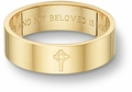 Celtic Cross Bible Verse Wedding Band Ring - Yellow Gold