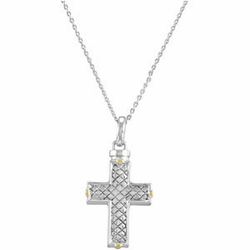 Checkerboard Cross Ash Holder Pendant and Chain