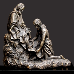 Christ Washing Peter's Feet Christian Art Sculpture by Timothy P. Schmalz
