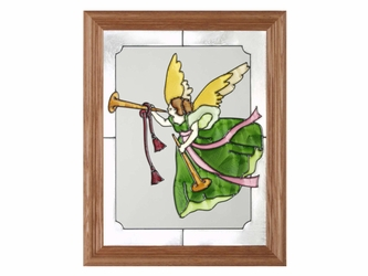 Christmas Angel with Horn Stained Glass Art Panel