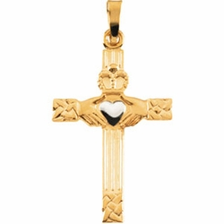 Claddagh Cross Pendant - Two Tone Gold