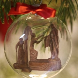 Come Unto Me Glass Christmas Ornament