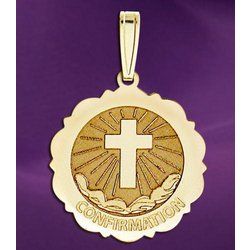 Confirmation Scalloped Round Medal - Cross