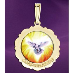 Confirmation Scalloped Round Medal - Holy Spirit