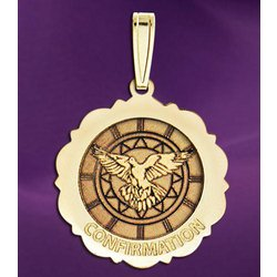 Confirmation Scalloped Round Medal - Holy Spirit Medal