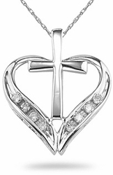 Cross and Heart Diamond Pendant 14K White Gold