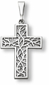 Crown of Thorns Cross Pendant, 14K White Gold