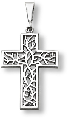 Crown of thorns cross pendant 14k white gold at lordsart crown of thorns cross pendant 14k white gold aloadofball Image collections