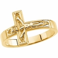 Crucifix Chastity Ring 14k Gold