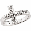 Crucifix Sterling Silver Chastity Ring w/Box