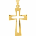 Cut-Cut Roman Cross Pendant in 14K Yellow Gold