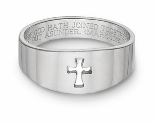 Cut Out Christian Cross Bible Verse Ring Sterling Silver
