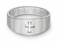 Cut Out Christian Cross Bible Verse Ring 14k White Gold