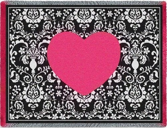 Damask Hearts Tapestry Throw