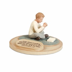 Praying Boy Devoted Sculpture - Christian Home Decor