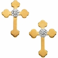 Diamond Cross Earrings 14k Gold