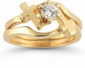 Diamond Cross Wedding Ring Bridal Set in 14K Gold