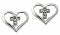 Diamond Heart and Cross Earrings, 10K White Gold