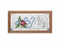 Dove, Rose and Ribbon Stained Glass Art Panel