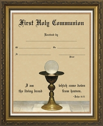 Eucharist and Chalice Detail First Holy Communion Framed Wall Decor