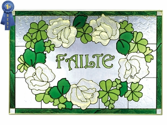 """Failte"" Irish Welcome Stained Glass Art Panel"