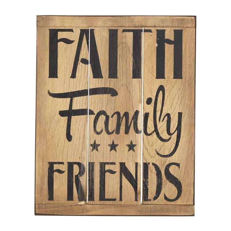 Faith Family Friends Rustic Reminders Wall Plaque Christian Home