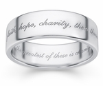 Faith, Hope, Charity Bible Verse Wedding Band - White Gold
