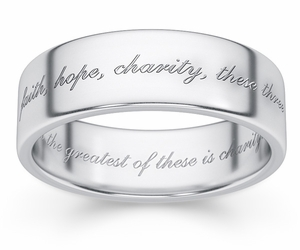 Faith, Hope, Charity Bible Verse Wedding Ring - Sterling Silver