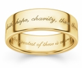 Faith, Hope, Charity Bible Verse Wedding Ring - Yellow Gold