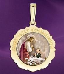 First Holy Communion Scalloped Round Medal (Boy)