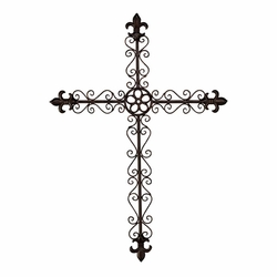 Fleur De Lis Bronze Metal Wall Cross - Christian Home & Wall Decor