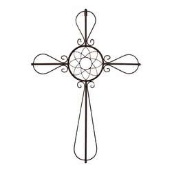 Floral Center Bronze Metal Wall Cross - Christian Home & Wall Decor
