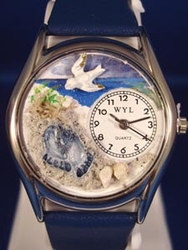 Footprints Religious Silver Watch