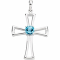 Genuine Swiss Blue Topaz Cross 14K White Gold