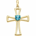 Genuine Swiss Blue Topaz Cross 14K Yellow Gold