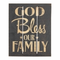 God Bless Our Family Rustic Reminders Wall Plaque - Christian Home Decor
