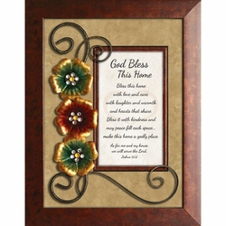 God Bless This Home - Cherry Framed Tabletop Home Decor