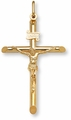 Gold Crucifix Pendant - 14K Gold - 2 x 1 3/8