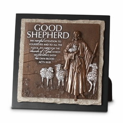Good Shepherd - Ministry Edition Small Stone Sculpture Plaque